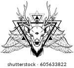 hand drawn beautiful hand... | Shutterstock .eps vector #605633822
