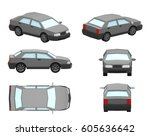 3d low model car sedan | Shutterstock . vector #605636642