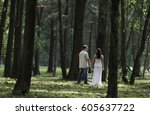 rear view of woman and man... | Shutterstock . vector #605637722