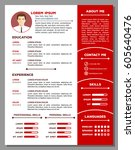 job resume or cv template... | Shutterstock .eps vector #605640476