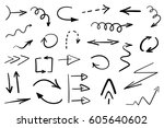 set of grunge hand drawn arrows ... | Shutterstock .eps vector #605640602