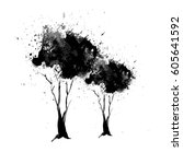 sketch of a tree painted in ink.... | Shutterstock .eps vector #605641592