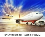 airplane on the airfield | Shutterstock . vector #605644022