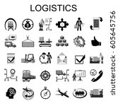 logistic vector icon set for... | Shutterstock .eps vector #605645756