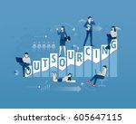 business metaphor of remote... | Shutterstock .eps vector #605647115