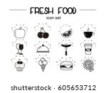 fresh food icon set  vector...   Shutterstock .eps vector #605653712