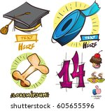 set of social icons in hand...   Shutterstock .eps vector #605655596