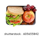lunch box with delicious food... | Shutterstock . vector #605655842