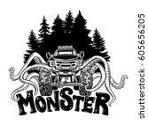 vector monster truck with... | Shutterstock .eps vector #605656205