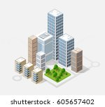 neighborhood 3d isometric three ... | Shutterstock . vector #605657402