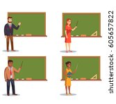 teachers in the classroom set.... | Shutterstock .eps vector #605657822