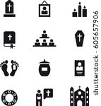 death  funeral black icons | Shutterstock .eps vector #605657906