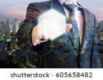 double exposure of professional ... | Shutterstock . vector #605658482