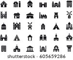 buildings   constructions black ... | Shutterstock .eps vector #605659286