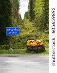 border crossing between norway...   Shutterstock . vector #605659892