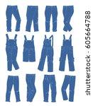 a set of jeans for little girls ... | Shutterstock .eps vector #605664788