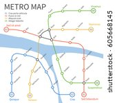 metro subway train map. vector... | Shutterstock .eps vector #605668145