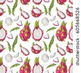 seamless pattern with dragon... | Shutterstock .eps vector #605668526