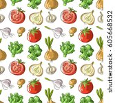 seamless pattern with vegan mix ... | Shutterstock .eps vector #605668532
