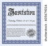 blue formal invitation template....   Shutterstock .eps vector #605674016