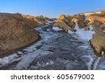 landscape in mud volcanoes.... | Shutterstock . vector #605679002