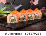 philadelphia roll sushi with... | Shutterstock . vector #605679296
