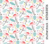 cute patter with flamingos and... | Shutterstock .eps vector #605683856