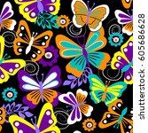 vector seamless geometric cute...   Shutterstock .eps vector #605686628