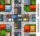 seamless pattern urban | Shutterstock . vector #605688416