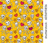 pattern with skulls and hearts  ... | Shutterstock .eps vector #605695856