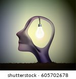 man profile head with bulb... | Shutterstock .eps vector #605702678
