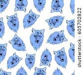pattern of wolf. | Shutterstock .eps vector #605702822