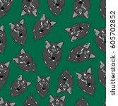 pattern of wolf. | Shutterstock .eps vector #605702852