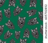 pattern of wolf. | Shutterstock .eps vector #605702852