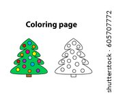 christmas tree   painting page  ... | Shutterstock .eps vector #605707772