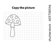 amanita  copy the picture  game ... | Shutterstock .eps vector #605708546