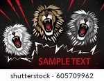 abstract roaring  lion  ...   Shutterstock .eps vector #605709962