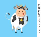 the white cow with black spots... | Shutterstock .eps vector #605715722