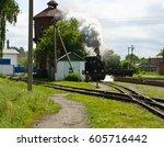 old narrow gauge steam... | Shutterstock . vector #605716442
