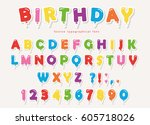 balloon colorful font paper... | Shutterstock .eps vector #605718026