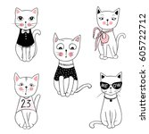 Stock vector vector series with cute fashion cats stylish kitten set trendy illustration in sketch style t 605722712