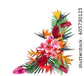 elegant floral vector... | Shutterstock .eps vector #605730125