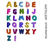 abstract 3d alphabet drawn by...   Shutterstock .eps vector #605731295
