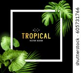 exotic tropical summer frame... | Shutterstock .eps vector #605731766
