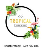 colourful and vibrant tropical... | Shutterstock .eps vector #605732186