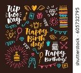 vector hand drawn calligraphic... | Shutterstock .eps vector #605732795