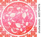 vector background. floral round ...   Shutterstock .eps vector #605734976