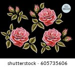 embroidery colorful floral... | Shutterstock .eps vector #605735606