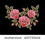 embroidery colorful floral... | Shutterstock .eps vector #605735636
