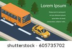 isometric 3d concept vehicles... | Shutterstock . vector #605735702